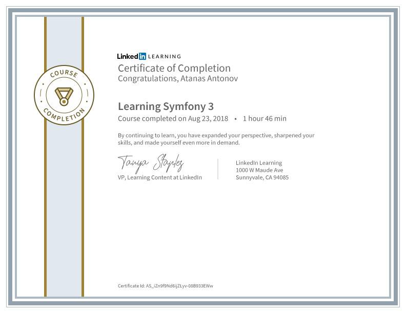 Symfony 3 Certificate