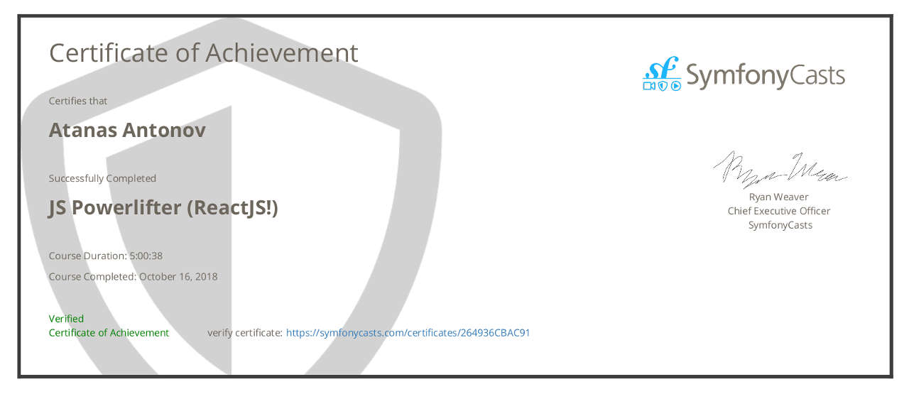 ReactJS with Symfony Certificate