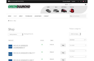 Online shop for a tire importer company