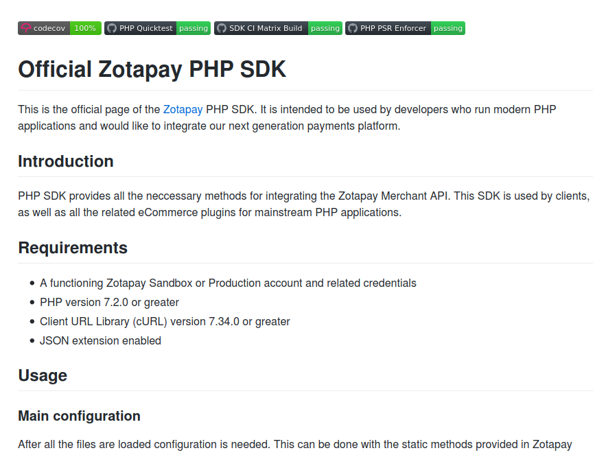 Screenshot of Zotapay PHP SDK GitHub page